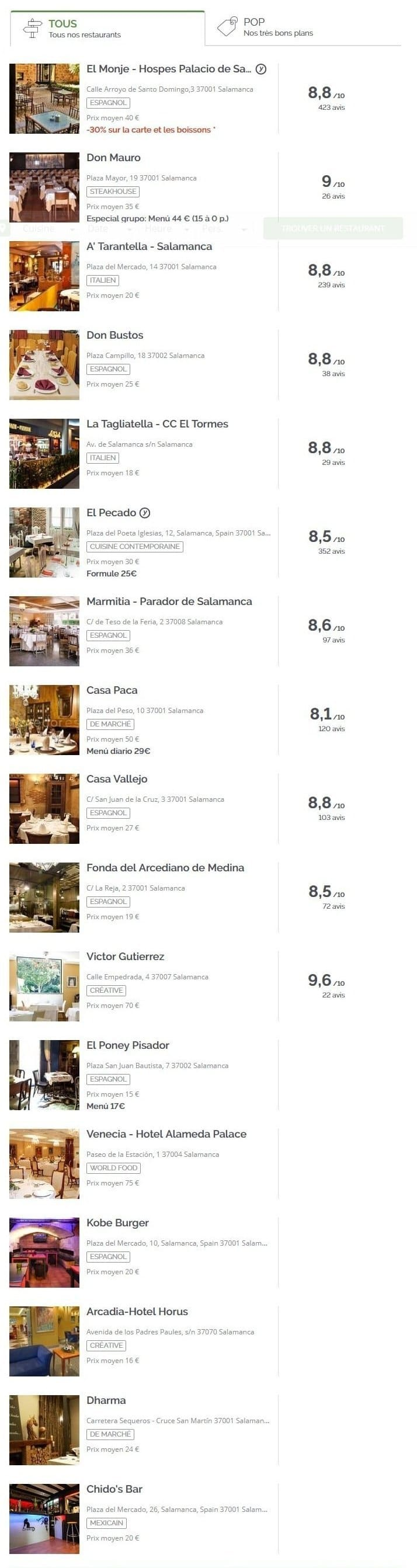 Restaurants a Salamanque